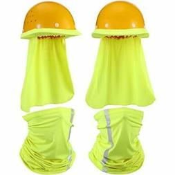 2 Pieces Hard Hat Sun Shade Neck Protection and 2 Pieces Vis