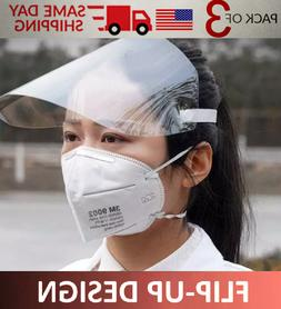 3 Pack Plastic Face Shield Full Face Protect with Eyes & Fac