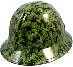 Army Men Green Hydro Dipped Full Brim Hard Hat with Ratchet