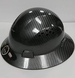 HDPE Hydro Dipped Black Full Brim Hard Hat with Fas-trac Sus