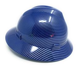 HDPE Hydro Dipped Blue/Silver Full Brim Hard Hat with Fas-tr
