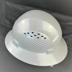 HDPE   Hydro Dipped White/Silver  Full Brim Hard Hat with Fa