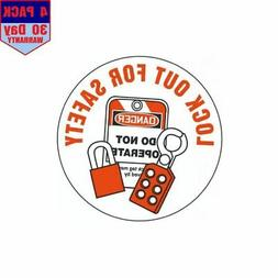 Lock Out For Safety Hard Hat 4 pack 4x4 Inch Sticker Decal